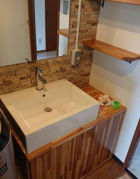 住宅改修工事 洗面化粧台設置
